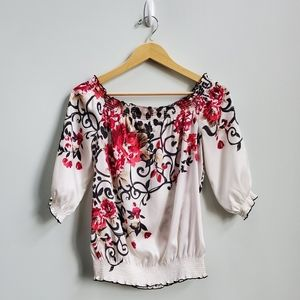 WHBM Ivory Floral Blouse